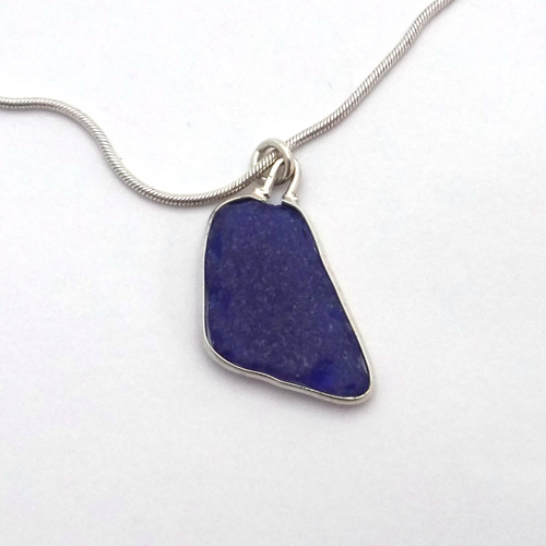 cobalt blue sea glass necklace 1