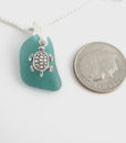 teal sea glass necklace with turtle 1