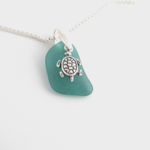 teal sea glass necklace with turtle charm1