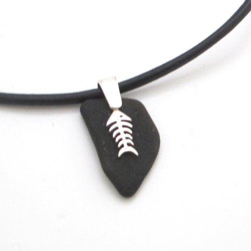 black sea glass necklace with bonefish 5