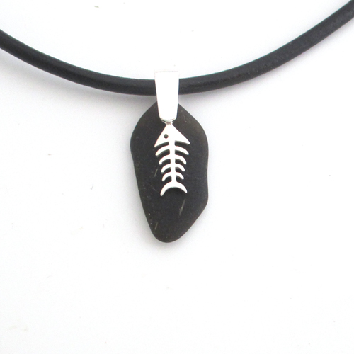 black sea glass necklace with bonefish4