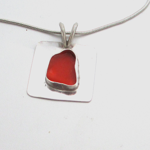 orange sea glass necklace 11
