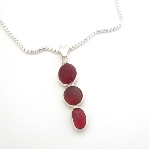 red sea glass necklace 2
