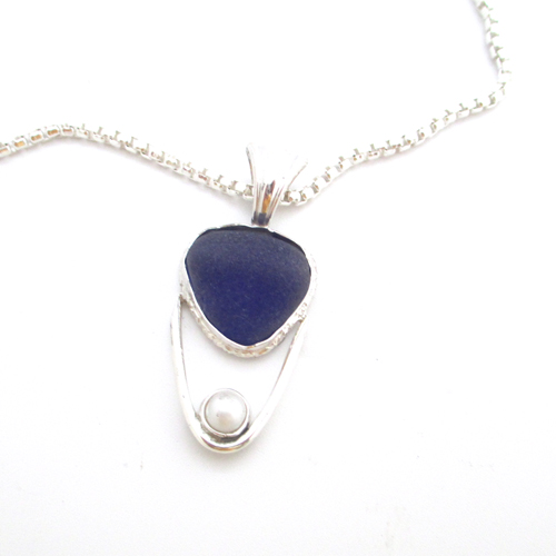 Sea Glass and Pearl Necklace 1