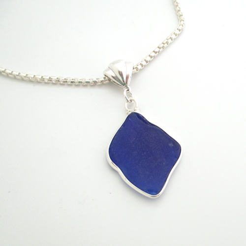 cobalt blue bezeled necklace 1