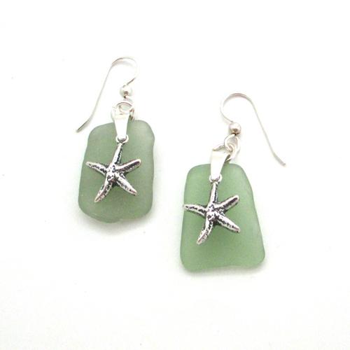 sage green sea glass earrings with starfish 1