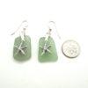 sage green sea glass earrings with starfish 3