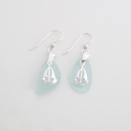 sky blue sea glass earrings with sailboats1