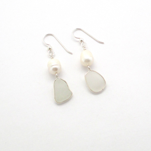 white sea glass and pearl earrings 1