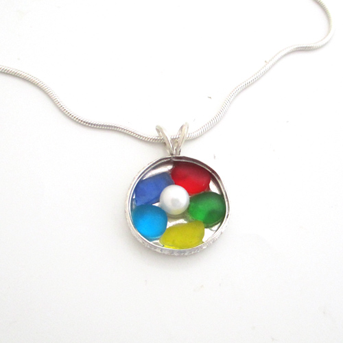 Multi colored sea glass necklace 1