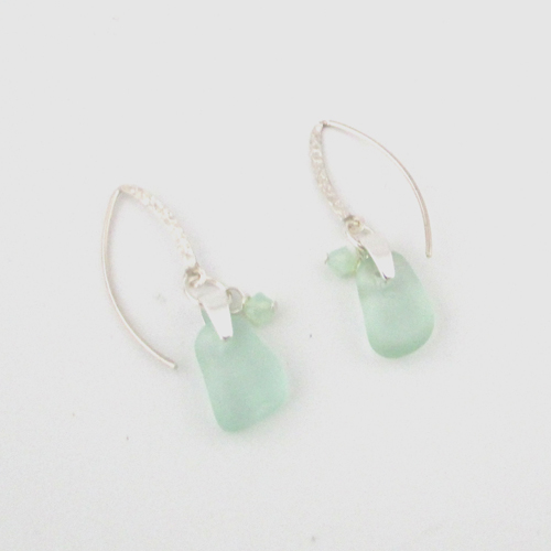 lime green sea glass earrings2