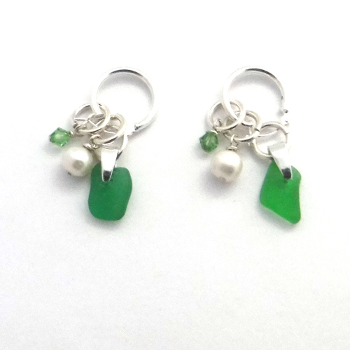 green interchangeale earrings 1