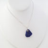 cobalt blue sea glass necklace with flower 7