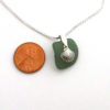 green sea glass necklace with shell 3