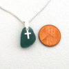 teal sea glass necklace with cross 3