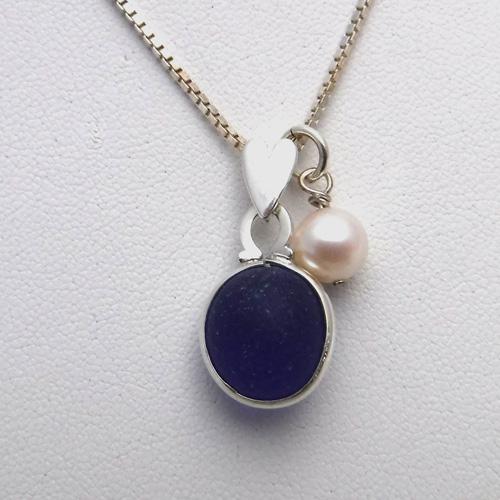 blue sea glass necklace 1