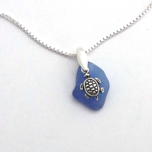 blue sea glass necklace with turtle 1