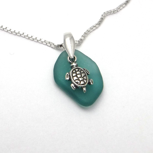 teal green sea glass neckace with turtle 1