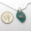 teal green sea glass necklace with turtle 3