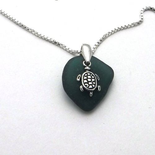 teal sea glass necklace 5